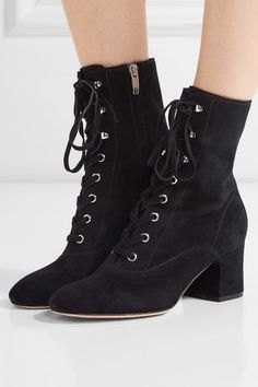 Gianvito Rossi - Lace-up Suede Ankle Boots - Black - IT37