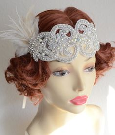READY TO SHIP,Champagne and Ivory feather,1920s headpiece,Gatsby Bride,Headband,Art Deco headpiece,Feather Flapper,Downton Abby,Style D006- the hair!!!
