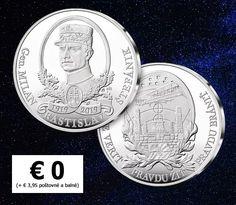 Pamätná medaila pre každého ZADARMO - 100 rokov M. R. Štefánika Coins, Personalized Items, Rooms