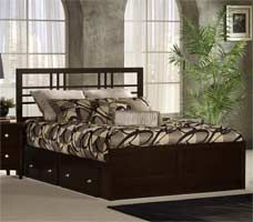 Beds - Tiburon Kona Solid Wood King or Queen Storage Bed w/ Wood Grills & Espresso Finish by Hillsdale Furniture | Kitchen Accessories Unlimited
