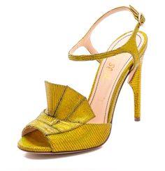 Jerome C. Rousseau Lio Metallic Heeled Sandals-Gold