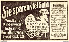 Original-Werbung/Anzeige 1907 - WESTFALIA KINDERWAGEN / BRUNO RICHTZENHAIN - OSNABRÜCK - Ca. 80 X 45 Mm - Werbung