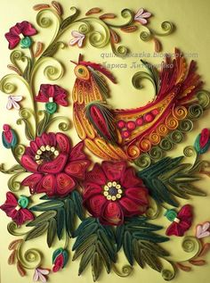 Highly decorative quilled rooster - by: quillingkazka