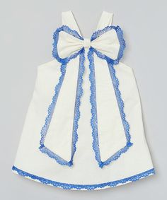 Another great find on #zulily! Little Miss Fashion Ivory & Blue Scalloped Lace Top - Infant, Toddler & Girls by Little Miss Fashion #zulilyfinds