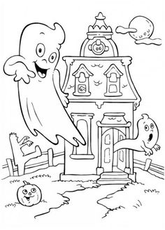 Printable Haunted House Coloring Pages. A haunted house is a house that is thought to be inhabited by spirits and is often a sighting place for supernatural or Haunted House Drawing, Haunted House For Kids, Halloween Haunted Houses, House Colouring Pages, Coloring Pages For Kids, Coloring Sheets, Coloring Books, Halloween Infantil, Free Online Coloring