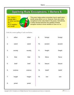 spelling rules ie and ei who 39 s afraid of tests spelling rules spelling worksheets. Black Bedroom Furniture Sets. Home Design Ideas