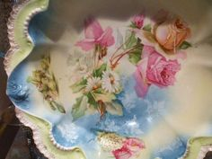 RS Prussia Bowl 1900s Antique Porcelain Victorian Art Nouveau Cottage Chic Home Wedding Decor Wreath Star Roses Daisies Snowball Poppies