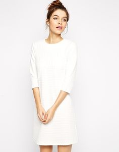 ASOS Shift Dress in Waffle Texture with 3/4 Sleeves Lining: 100% Polyester, Shell: 97% Polyester, 3% Elastane.
