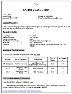 Computer Engineer Resume Fresher Resume Sample Of A Fresher B Tech Mechanical With