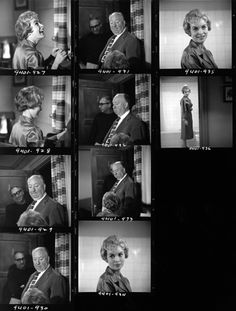 Contact sheet of photographs taken on set of Psycho: Saul Bass, Alfred Hitchcock, and Janet Leigh, 1960.