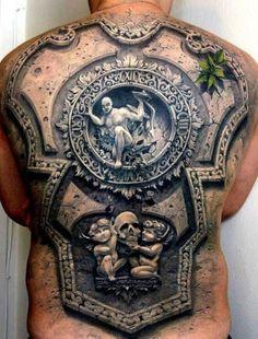 6a38ccc5a #fullback #3dtattoos 3d Tattoos For Men, Best 3d Tattoos, Weird Tattoos,