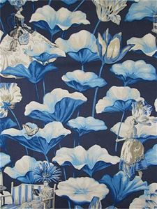 Harrison Howard Lotus Dreams Porcelain Chinoiserie Fabric Wallpaper Blue And White