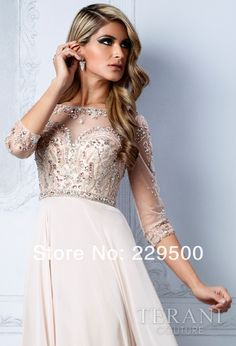 2014 New Arrival Beige Long Chiffon Beading Crystal Prom Dresses Party Formal Gown 3/4 Sleeves