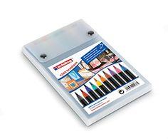 edding 1340 Brushpen Fasermaler mit variabler Spitze, 10-stück farblich sortiert