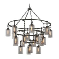 Troy Lighting Gotham Aged Silver Pendant Light with Cylindrical Shade | F4426 | Destination Lighting