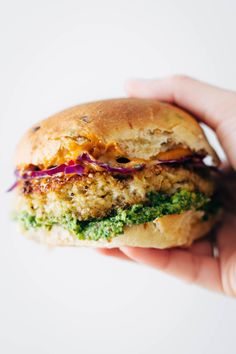 Spicy Cauliflower Burgers with avocado sauce, cilantro lime slaw, and chipotle mayo!