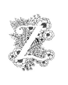 Letter Z print - Alphabet, Calligraphy, Typography, Monogram, Flowers - Black and White ink art print - letters letters Alphabet A, Flower Alphabet, Floral Drawing, Mandala Drawing, Graffiti Lettering Fonts, Hand Lettering, Lettering Styles, Lettering Tutorial, Literary Tattoos