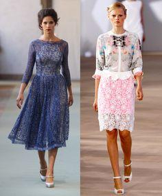 encaje en contraste Lace Skirt, Trends, Skirts, Fashion, Lace, Moda, La Mode, Skirt