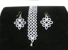 Iridescent White Mirrored Edging Tatted Bracelet and Earring Set with Blue Beads