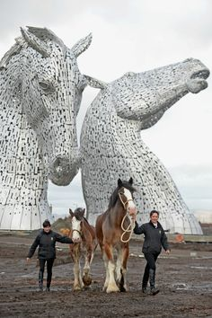 The Kelpies, created by sculptor Andy Scott, gracefully stretching out of the 864-acre Helix land transformation project in Falkirk, Scotland. At over 98 feet tall, The Kelpies are among the tallest public sculptures in the United Kingdom and cost more than $8 million to complete.