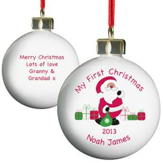 Ceramic Personalised Merry Christmas Santa Bauble including personalisation and free standard delivery. Gorgeous quality bone china baubles featuring a personalised touch. My First Christmas Bauble, Merry Christmas Love, Christmas Tree Baubles, Babies First Christmas, Christmas Gifts For Kids, Christmas Items, Father Christmas, Santa Christmas, Xmas Gifts