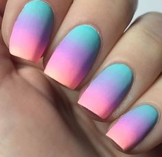 Nails rainbow Na… Nails rainbow Nails rainbow+ Glow Nails, Diy Nails, Swag Nails, Cute Nails, Grunge Nails, Cute Acrylic Nail Designs, Flower Nail Designs, Nail Art Designs, Summer Acrylic Nails