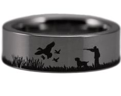 Pheasant Hunting Scene Ring Pheasant and Tungsten carbide