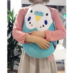 Soft and Downy Bird Stuffed Plush Type Large Size Cushion (Bird-Collection Series) (Budgies / Blue)