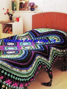 CROCHET PATTERN  Multicolored Afghan  Tassel by GrandmaHadItGoinOn