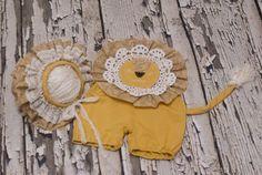 RTS Sitter romper set Baby romper Lion Bonnet by YourSpotLLC