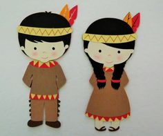 Thanksgiving Native American Indian Boy and Girl Paper Die Cut Paper Doll Scrapbook Embellishment Cupcake Topper Native American Crafts, Native American Indians, American Art, Thanksgiving Crafts For Kids, Fall Crafts, November Thanksgiving, November Crafts, Indian Boy, Save On Crafts