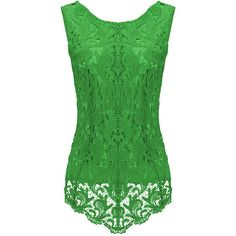 Womens Fashion Lace Crewneck Sleeveless Blouse Green ($14) ❤ liked on Polyvore featuring tops, blouses, green, shirts, sleeveless blouse, green top, sleeveless lace blouse, j.crew blouse and sleeveless lace top