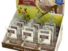 """Window Bird Feeder Thermometer Countertop Display, 12 - Get to know your feathered neighbors from inches away with this Window Bird Feeder with Thermometer featuring a compact transparent plastic house-shaped unit with a feeder to hold enough seed to keep birds happy for days, a thermometer with Fahrenheit and Celsius readings and two strong suction cups for attaching to windows. Measures approximately 7"""" tall x 4.5"""" wide x 2"""" deep. Comes loose. Countertop display comes with 12…"""
