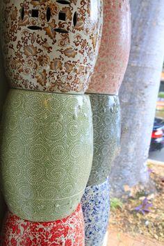 samantha robinson hand painted ceramic stools/side tables