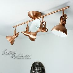 Vintage Spotlight 4-flmg Ceiling light rotatable in copper Industrial lamps Loft