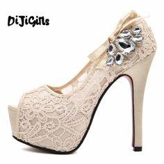 88bdaa9d18c Summer new hot European brand style Ladies sexy rhinestone lace wedding shoes  high heels platform pumps