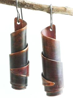 Spiral Copper Earrings  Rolled Bead Twisted by HAMMERHEADdesigns, $26.00