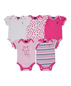 Look what I found on #zulily! Rugged Bear Pink & White Hearts Bodysuit Set - Infant by Rugged Bear #zulilyfinds