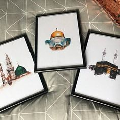 Set of 3 Islamic Landmark Prints (The Holy Kabah - Masjid an Nabawiy - The Dome of The Rock) Available with Frames! - Best of Wallpapers for Andriod and ios Watercolor Print, Watercolor Paintings, Dome Of The Rock, Islamic Posters, Ramadan Crafts, Islamic Paintings, Arabic Calligraphy Art, Islamic Wall Art, Islamic Pictures