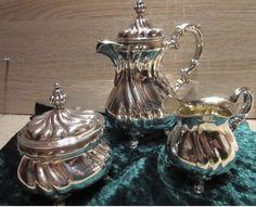 3 - teiliges Kaffeekern - Geschirr aus 835er Silber,  (insg. ca. 625 g) Sugar Bowl, Bowl Set, Beer, Tableware, Kaffee, Germany, Silver, Root Beer, Ale
