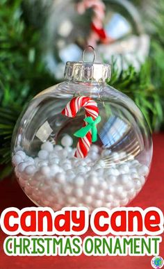 Learn how to make an easy DIY Christmas ornament craft for preschoolers! This is a fun candy cane Christmas ornament for preschoolers from Life Over C's to make during the Christmas season. Preschoolers can work on fine motor skills while creating a Christmas ornament with your kids. #kids #christmas #ornaments #preschool #kindergarten #easy