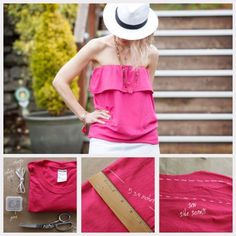 T-Shirt Makeovers - Refashioned Ruffled Tube Top From a T-Shirt - Awesome Way to Upcycle Tees - Cool No Sew Tshirt Cutting Tutorials, Simple Summer Cutouts, How To Make Halter Tops and T-Shirt Dresses. Easy Tutorials and Instructions for Teens and Adults http:diyprojectsforteens.com/diy-tshirt-makeovers