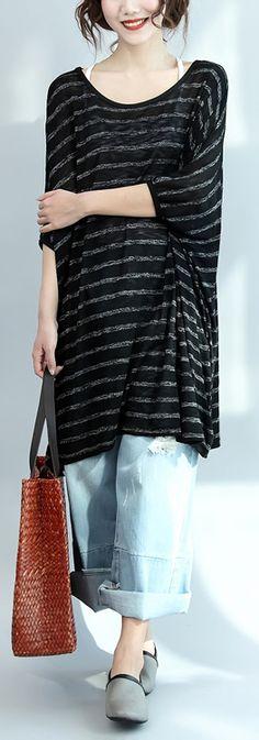 black gray striped casual summer dress cotton oversize stylish women dresses batwing sleeve shift dress