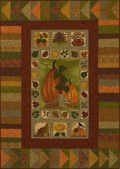 Pumpkin Panel Quilt - I like the border around a panel...good thought for making panels more interesting.