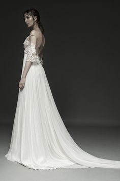 IDUNNA - French embroidery intricately decorated with crystals, pearls and seed beads. Gathered ivory silk skirt.