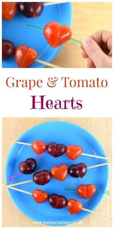 How to make grape and tomato hearts - cute food for kids - great healthy snack for Valentines Day - Eats Amazing UK