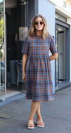 With a little #pinspiration, we've hacked our Georgie Top pattern to make this sweet n' easy gathered dress. Utterly ace fabric is our Ottavio Crinkle Linen. More details on the blog now!