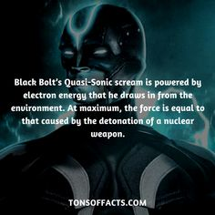 Black Bolt's Quasi-Sonic scream is powered by electron energy that he draws in from the environment. At maximum, the force is equal to that caused by the detonation of a nuclear weapon. #blackbolt #tvshow #immortals #comics #marvelcomics #interesting #fact #facts #trivia #superheroes #memes #1 #villains #hero #heroes #villain #theavengers