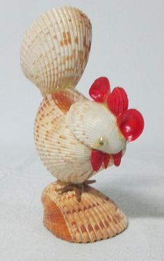 Vintage Rooster Figurine Made of Shells