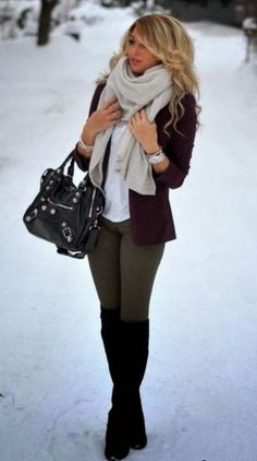 Cozy winter outfit with scarf, blazer, handbag and long booties